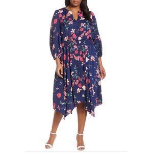Eliza J Navy Floral Poet Sleeve Smock Waist Dress